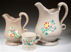 ENGLISH STAFFORDSHIRE POTTERY DRABWARE TABLE ARTICLES,