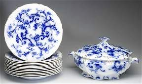 ENGLISH STAFFORDSHIRE POTTERY FLOW-BLUE TUREEN AND RIM
