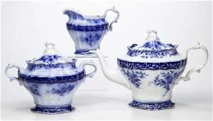 "ENGLISH STAFFORDSHIRE POTTERY ""TOURAINE"" FLOW-BLUE"