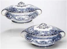 ENGLISH STAFFORDSHIRE POTTERY FLOW-BLUE PAIR OF TUREENS