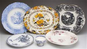 ENGLISH STAFFORDSHIRE POTTERY ASSORTED TABLE ARTICLES,