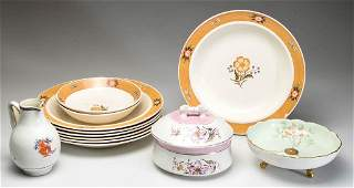 ENGLISH STAFFORDSHIRE POTTERY PLATES AND ASSORTED