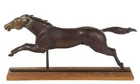 MOLDED COPPER FOLK ART RUNNING HORSE WEATHERVANE