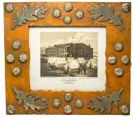 DECORATED PINE FOLK ART PICTURE FRAME