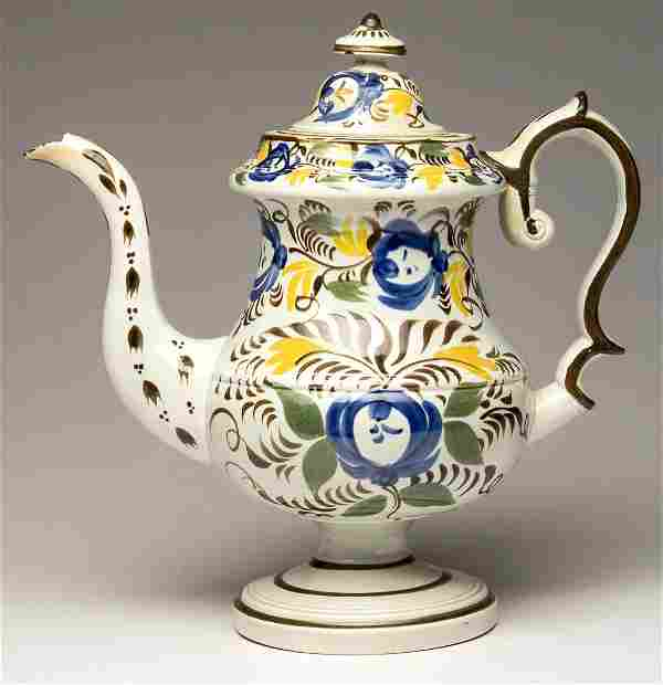 ENGLISH POTTERY PEARLWARE COFFEE POT AND COVER