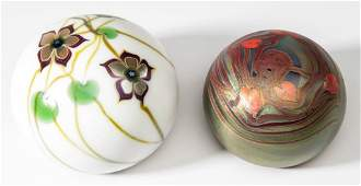 LUNDBERG STUDIOS ART GLASS PAPERWEIGHTS, LOT OF TWO