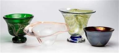 ASSORTED STUDIO ART GLASS BOWLS LOT OF FOUR