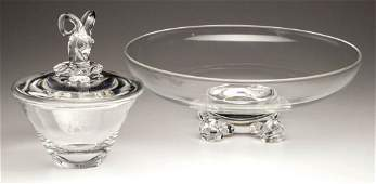 STEUBEN CRYSTAL ARTICLES, LOT OF TWO
