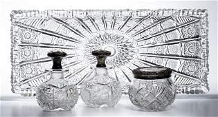 AMERICAN BRILLIANT CUT GLASS ASSEMBLED FOUR-PIECE