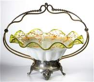 VICTORIAN CASED GLASS BRIDE'S BASKET