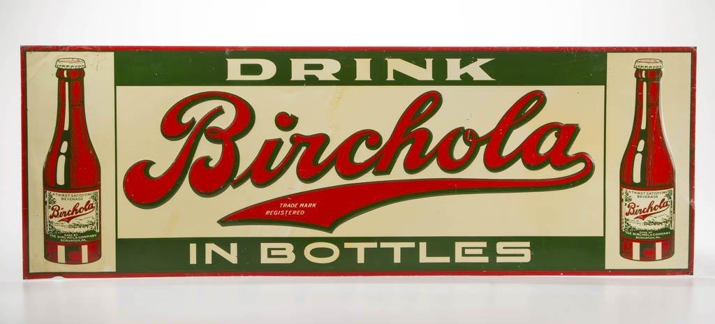 BIRCHOLA EMBOSSED TIN ADVERTISING SIGN