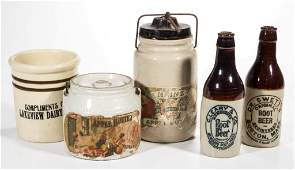 ASSORTED ADVERTISING STONEWARE ARTICLES LOT OF FIVE