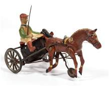 GERMAN RACING SULKY DIECAST AND TIN WINDUP TOY