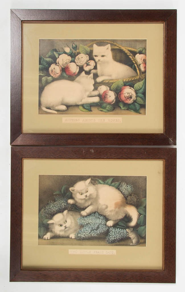 CURRIER AND IVES CAT PRINTS, LOT OF TWO