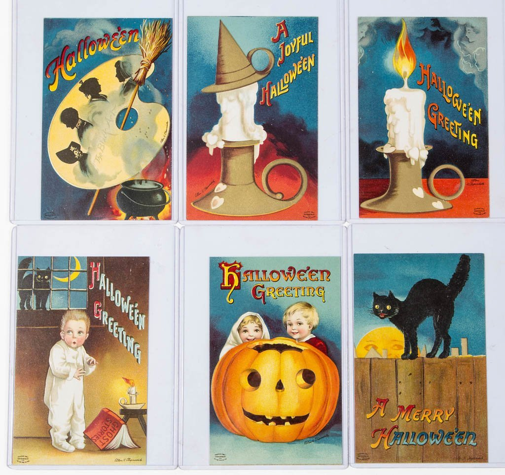 CLAPSADDLE HALLOWEEN POST CARDS, LOT OF SIX