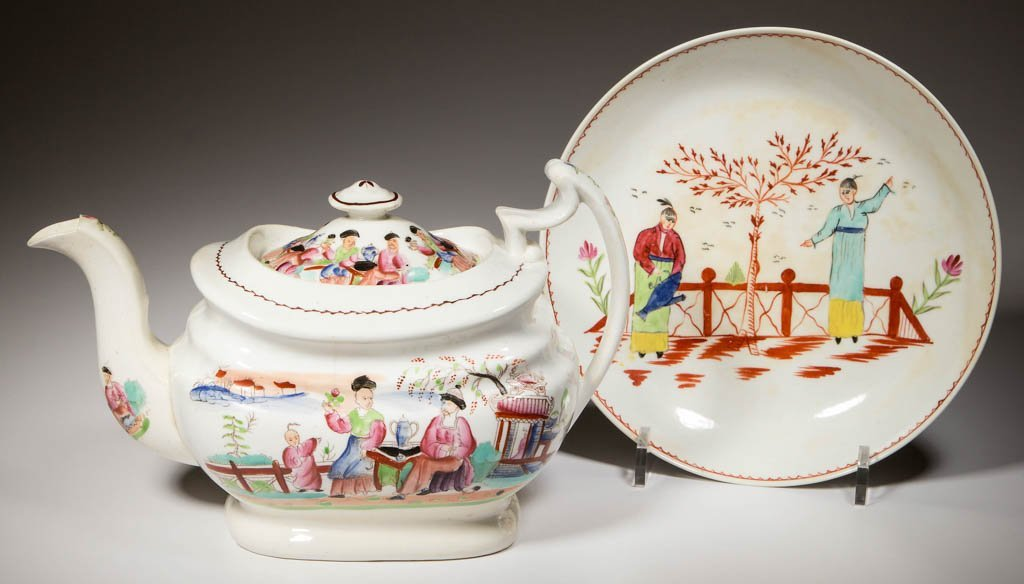 ENGLISH LIVERPOOL AND NEW HALL PORCELAIN TEAWARE