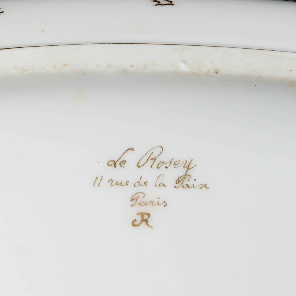 FRENCH VIEUX PARIS LEROSEY PORCELAIN OVAL BOTTLE COOLER - 2