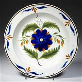 ENGLISH STAFFORDSHIRE POTTERY PEARLWARE FLORAL RIM SOUP