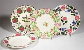 ENGLISH STAFFORDSHIRE POTTERY PEARLWARE PLATES, LOT OF