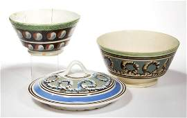 ENGLISH STAFFORDSHIRE POTTERY MOCHAWARE DIPPED TABLE
