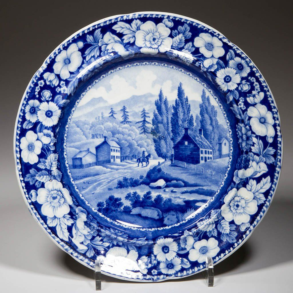 """ENGLISH A. STEVENSON POTTERY PEARLWARE """"VIEW ON THE WAY"""