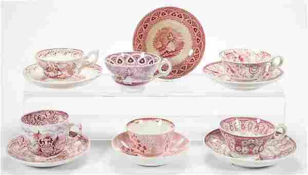 ENGLISH STAFFORDSHIRE POTTERY TEAWARE ARTICLES, LOT OF