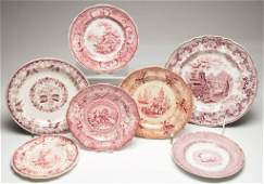 ENGLISH STAFFORDSHIRE POTTERY PLATES, LOT OF