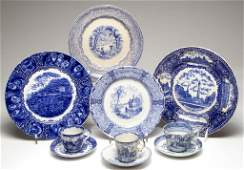 ENGLISH STAFFORDSHIRE POTTERY AND PORCELAIN FLOW BLUE
