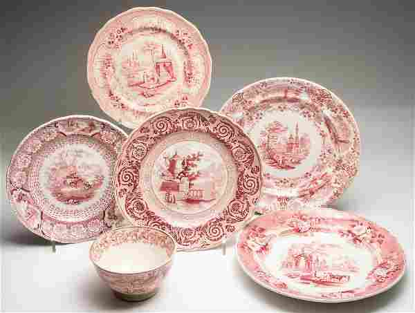 ENGLISH STAFFORDSHIRE POTTERY ARTICLES, LOT OF