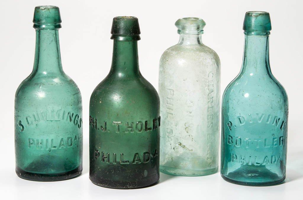 ASSORTED PHILADELPHIA, PA SODA BOTTLES, LOT OF FOUR