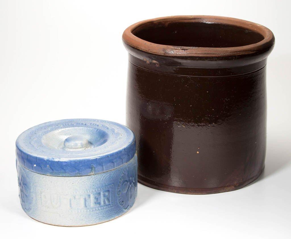 AMERICAN BLUE AND WHITE SALT-GLAZED CERAMIC BUTTER TUB