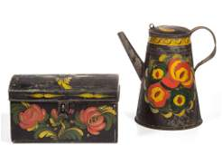 AMERICAN PAINT-DECORATED TOLE ARTICLES, LOT OF TWO