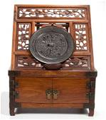 CHINESE CARVED WOODEN VANITY BOX AND BRONZE MIRROR, LOT