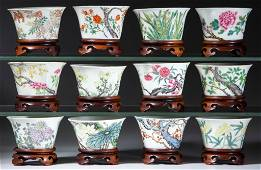 CHINESE EXPORT PORCELAIN FAMILLE ROSE MING-STYLE MONTHS