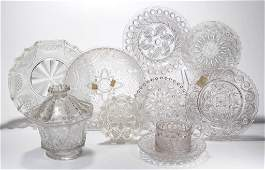ASSORTED PRESSED LACY ARTICLES, LOT OF TEN