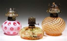 ASSORTED MINIATURE OIL LAMP FONTS, LOT OF THREE