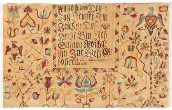 RARE AND IMPORTANT 1806 SUSANNA ROTHGEB, ROCKBRIDGE