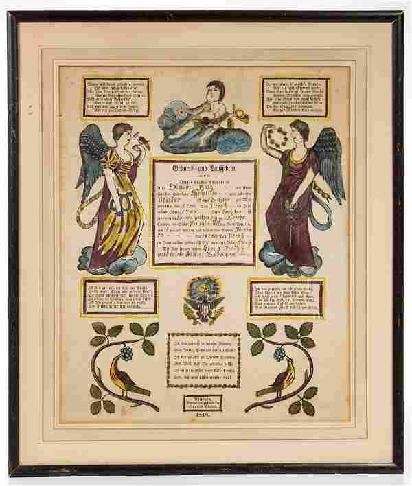 PENNSYLVANIA GERMAN PRINTED AND HAND-COLORED BIRTH AND