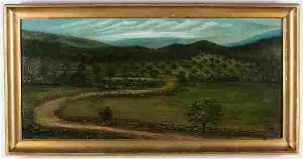 WYTHE COUNTY, VIRGINIA FOLK ART FARM LANDSCAPE PAINTING