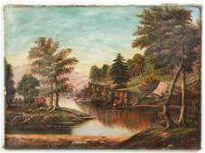 AMERICAN SCHOOL (19TH CENTURY) FOLK ART LANDSCAPE