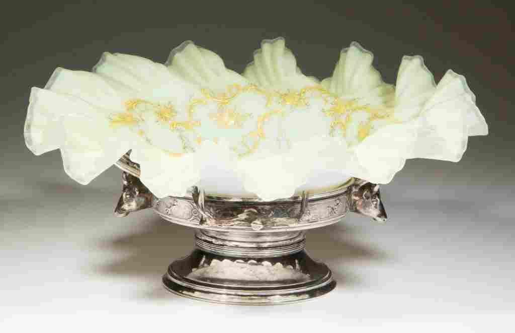 VICTORIAN CASED GLASS BRIDE'S BASKET