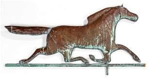 MOLDED-COPPER FOLK ART RUNNING HORSE WEATHERVANE
