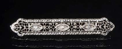VINTAGE LADYS 14K WHITE GOLD AND DIAMOND BAR PIN