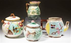 ENGLISH AND AMERICAN MAJOLICA TEAWARE ARTICLES, LOT OF