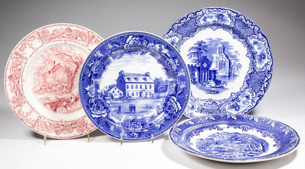 ENGLISH STAFFORDSHIRE TRANSFERWARE POTTERY PLATES, LOT