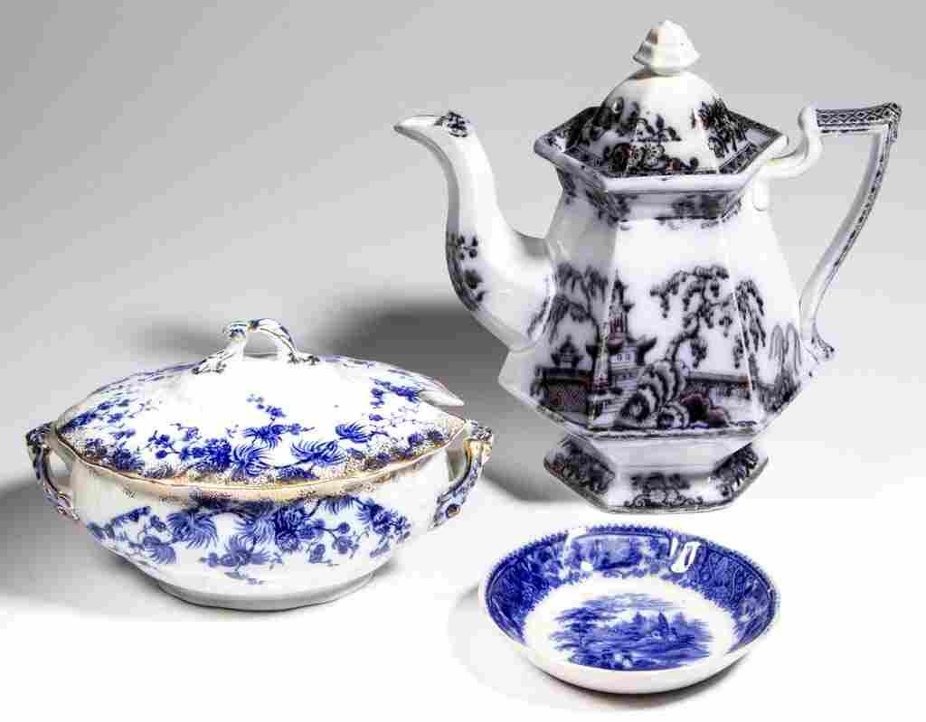ENGLISH STAFFORDSHIRE TRANSFERWARE POTTERY TEA AND