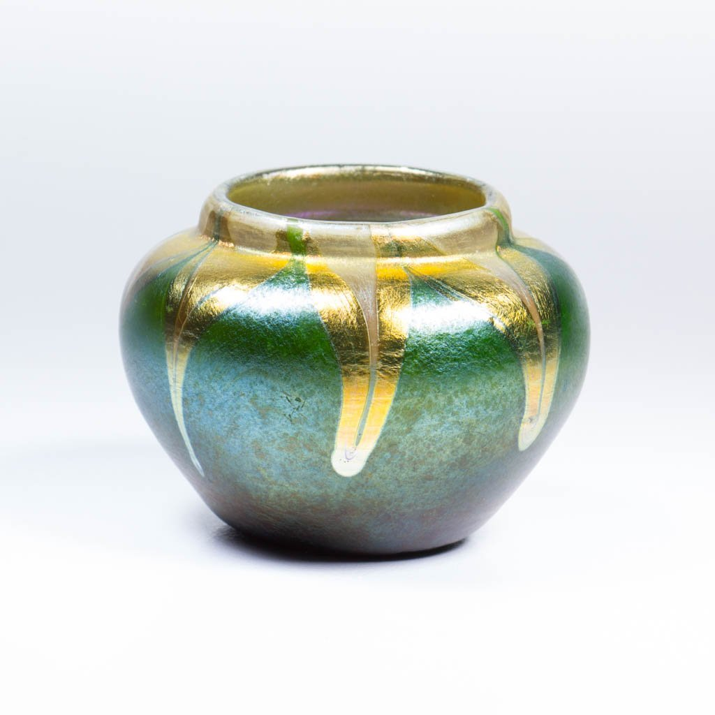TIFFANY FAVRILE PULLED FEATHER CABINET VASE