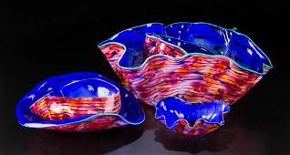DALE CHIHULY MACCHIA STUDIO ART GLASS FIVEPIECE SET