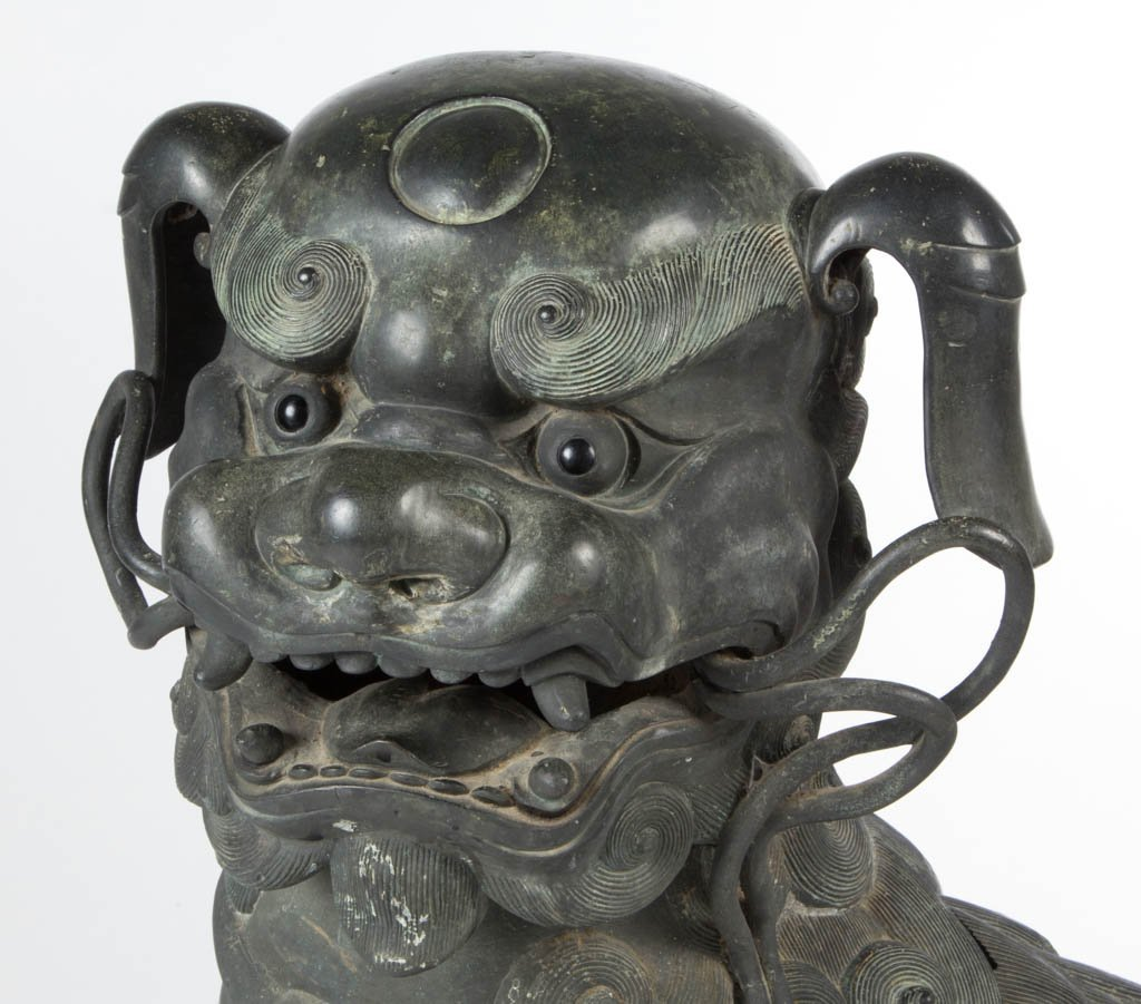 CHINESE BRONZE LARGE GUARDIAN FU DOG / LION CENSER - 2