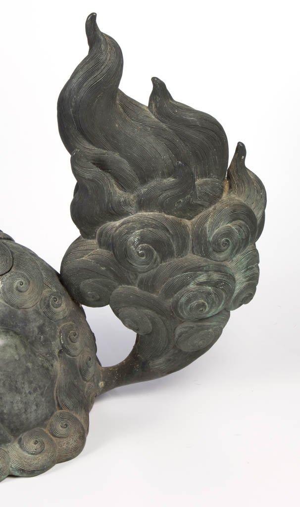 CHINESE BRONZE LARGE GUARDIAN FU DOG / LION CENSER - 4
